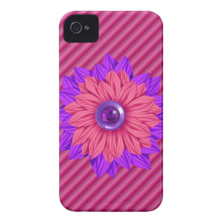 Faux ribbed fabric with jeweled Flower Iphone Case iPhone 4 Covers