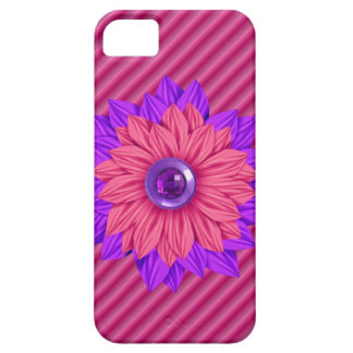 Faux ribbed fabric with jeweled Flower Iphone Case iPhone 5 Cover