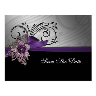 FAUX ribbon brooch purple save the date Postcard