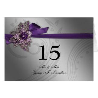 FAUX ribbon Elegant purple table seating card