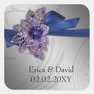 "FAUX ribbon ""navy blue"" envelopes seals Square Sticker"