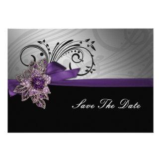 FAUX ribbon purple save the date announcement