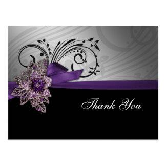 FAUX ribbon  purple ThankYou Cards Postcard