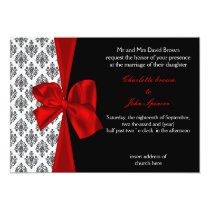 FAUX ribbon red damask wedding invitation