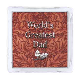 Faux Rich Brown Leather, World's Greatest Dad Silver Finish Lapel Pin