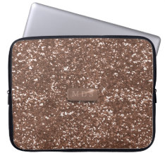 Faux Rose Gold 3d Monogram Glitter Laptop Sleeve at Zazzle