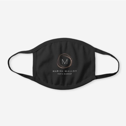 Faux Rose Gold Abstract Business Name & Monogram Black Cotton Face Mask