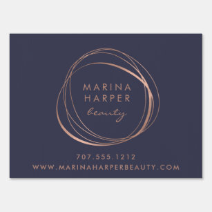 Business yard signs zazzle faux rose gold abstract logo business sign reheart Images
