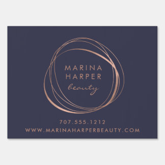 Faux Rose Gold Abstract Logo Business Sign