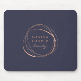 Faux Rose Gold Abstract Logo Mouse Pad