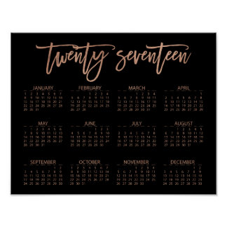 Faux Rose Gold and Black Modern 2017 Calendar Poster