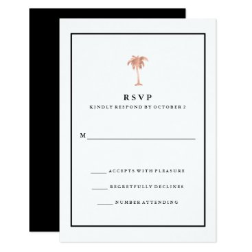 Beach Themed Faux Rose Gold and Black Palm Tree | Glam RSVP Card