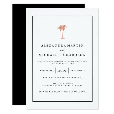 Beach Themed Faux Rose Gold and Black Palm Tree | Glam Wedding Card