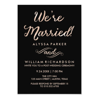 Faux Rose Gold and Black Post Wedding Ceremony Card