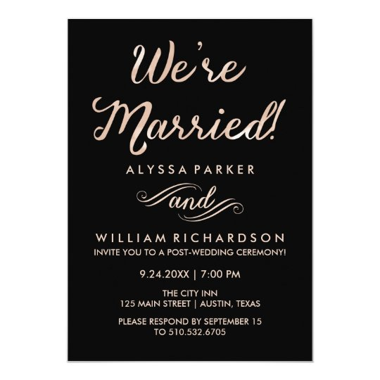 Faux Rose Gold And Black Post Wedding Ceremony Invitation