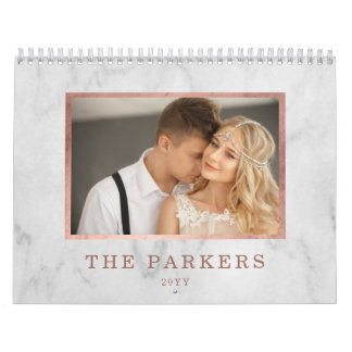 Faux Rose Gold and Marble | Multi Photo Calendar