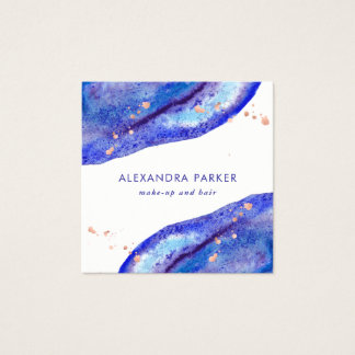 Faux Rose Gold and Watercolor Blue Geode | Square Square Business Card