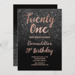 """Faux rose gold black faux glitter 21st Birthday Invitation<br><div class=""""desc"""">Faux rose gold black glitter 21st Birthday A modern 21st Birthday party invitation with modern, original and simple faux rose gold foil invitation with black glitter and hand written style brush typography on a fully customizable black color background. . If you need any text changed and customized don't hesitate in...</div>"""