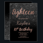 """Faux rose gold black glitter 18th Birthday Invitation<br><div class=""""desc"""">Faux rose gold black glitter 18th Birthday custom name. A modern 18th Birthday party invitation with modern, original and simple faux rose gold foil invitation with black glitter and hand written style brush typography eighteen on a fully customizable pastel blush pink color background and black at the back . ....</div>"""