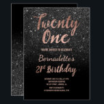 "Faux rose gold black glitter 21st Birthday Invitation<br><div class=""desc"">Faux rose gold black glitter 21st Birthday A modern 21st Birthday party invitation with modern, original and simple faux rose gold foil invitation with black glitter and hand written style brush typography on a fully customizable black color background. . If you need any text changed and customized don't hesitate in...</div>"
