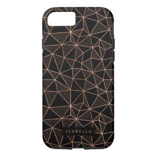 Faux Rose Gold & Black Modern Geometric iPhone 7 Case