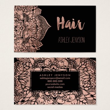 girly_trend Faux rose gold boho floral mandala hair typography business card