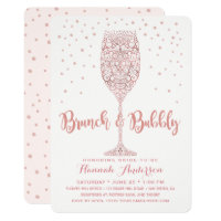 Faux Rose Gold Brunch & Bubbly Bridal Shower Invitation