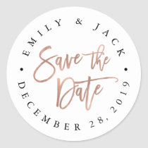 Faux Rose Gold Brush Lettered Save the Date Classic Round Sticker