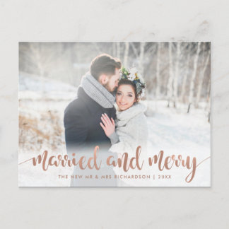 Faux Rose Gold Christmas Photo | Married and Merry Holiday Postcard