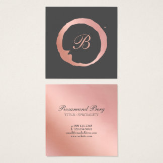 Faux Rose Gold Circle Monogram Square Business Card