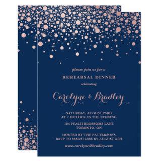 Faux Rose Gold Confetti   Blue Rehearsal Dinner Card