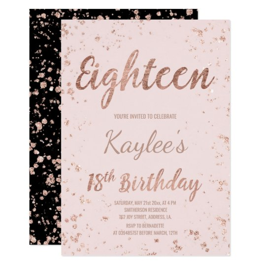 Faux Rose Gold Confetti Blush 18th Birthday Card Zazzle Com