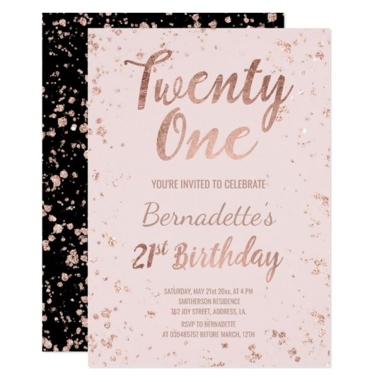 faux rose gold confetti blush 21st birthday invitation zazzle com