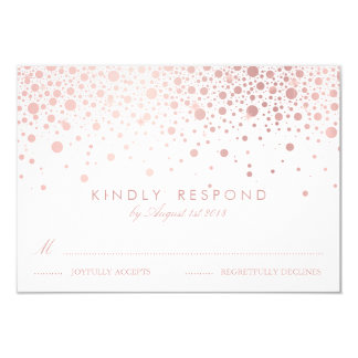 Faux Rose Gold Confetti Dots White Wedding RSVP Card