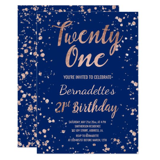 Faux Rose Gold Confetti Navy Blue 21st Birthday Invitation
