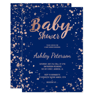 Faux rose gold confetti navy blue baby shower card