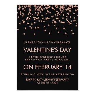 Faux Rose Gold Confetti on Black Valentine's Day Card