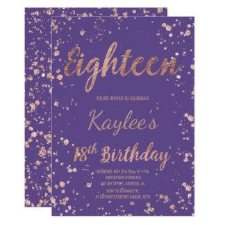 Faux rose gold confetti purple 18th Birthday Card
