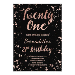 21st birthday invitations announcements zazzle faux rose gold confetti splatters 21st birthday card filmwisefo Gallery