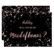Faux rose gold confetti splatters maid of honor invitation