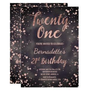 Faux Rose Gold Confetti Watercolor 21st Birthday Invitation