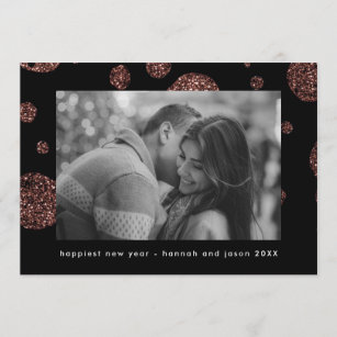 faux rose gold dots on black new year photo holiday card