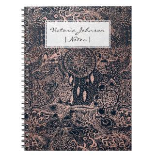 Faux rose gold dreamcatcher floral navy blue notebook