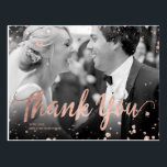 """Faux rose gold elegant confetti wedding thank you postcard<br><div class=""""desc"""">Send your thank you after your wedding with this custom design with an elegant faux rose gold script typography and abstract rose gold confetti splatters. Just add your wedding photo and add your message</div>"""