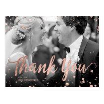 Faux rose gold elegant confetti wedding thank you postcard