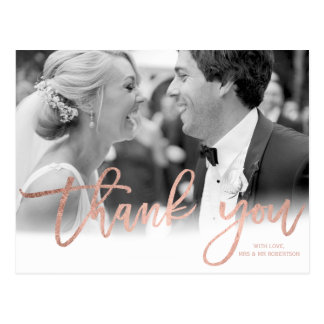 Faux rose gold elegant script wedding thank you postcard