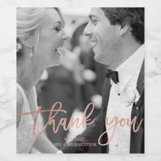 Faux rose gold elegant script wedding thank you wine label
