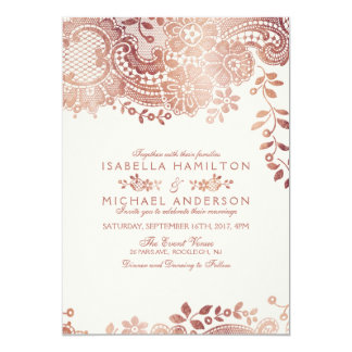 faux rose gold elegant vintage lace wedding card - Rose Gold Wedding Invitations