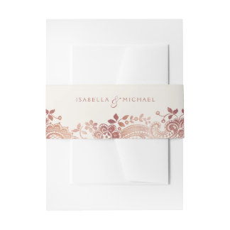 Faux rose gold elegant vintage lace wedding invitation belly band