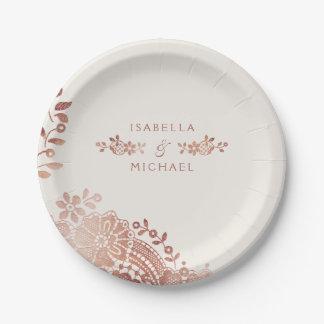 Faux rose gold elegant vintage lace wedding paper plate
